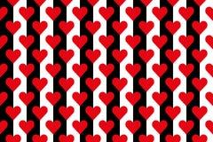 Svartvita band med röda hjärtor Arkivbild