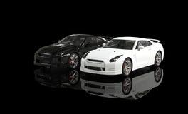 Svartvita bilar på svart bakgrund Arkivfoto