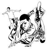 Svartvita dansa pojkar vektor illustrationer