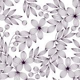 Svartvita eleganta sidor och blommor och bär sömlös modell, vektor vektor illustrationer