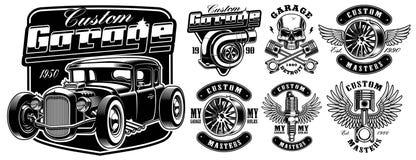 Svartvita emblem av bilservice stock illustrationer