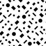 Svartvita enkla geometriska former sömlös modell, vektor Arkivbilder