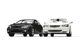 Svartvita exklusiva bilar Fotografering för Bildbyråer