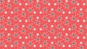 Svartvita glänsande snöflingor över röd bakgrund Royaltyfria Bilder