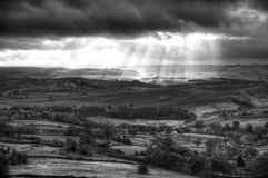 Svartvita härliga solstrålar över stor hed i maximumet Dis fotografering för bildbyråer