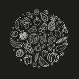 Svartvita hand-drog frukter och grönsaker Sunt mattema i organisk klotterstil vektor illustrationer