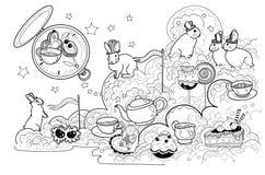 Svartvita kaniner för vektor med den tokiga tebjudningen, klockan, kakor och sötsaker på stjärnamolnet royaltyfri illustrationer