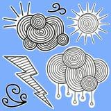 Svartvita klistermärkear för animering royaltyfri illustrationer