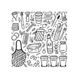 Svartvita klotterbeståndsdelar av nollförlorat liv Eco-stil hand-dragen vektorillustration ingen plast- går green återanvänder stock illustrationer