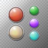 Svartvita knappar för för knappuppsättningrunda och fyrkant Arkivbild