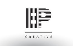 Svartvita linjer bokstav Logo Design för EP E P Royaltyfria Foton