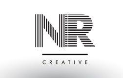 Svartvita linjer bokstav Logo Design för NR N R Fotografering för Bildbyråer