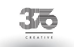 376 svartvita linjer nummer Logo Design Royaltyfri Fotografi