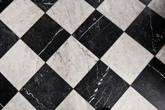 Svartvita marmortegelplattor Royaltyfria Foton