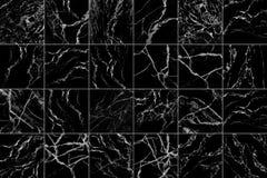 svartvita marmortegelplattor för modell och bakgrund Royaltyfri Foto