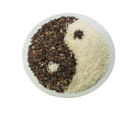 Svartvita ris, Yin yang symbol Arkivfoton
