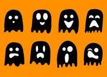 2018 svartvita spökar för allhelgonaaftonberöm stock illustrationer