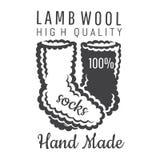 Svartvita stack sockor Logo för plats eller affär för hantverk släkt royaltyfri illustrationer