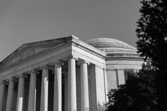 Svartvita Thomas Jefferson Memorial Royaltyfria Foton