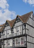 Svartvita timrade hus i Stratford Upon arkivbilder