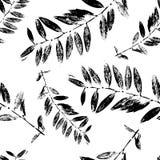 Svartvitt abstrakt begrepp lämnar konturn den sömlösa modellen stock illustrationer