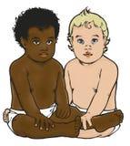 Svartvitt barn Arkivbild