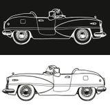 Svartvitt carhand-dragit retro också vektor för coreldrawillustration Royaltyfri Foto