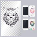 Svartvitt djurt hundhuvud Vektorillustration för telefonfall Arkivbilder