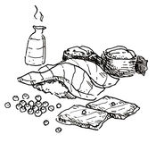 Japansk mat räcker utdraget vektor illustrationer