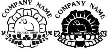 Svartvitt för logodesignfågel och blomma Royaltyfri Bild
