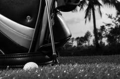 Svartvitt foto av golfklubbar och en golfboll i lågt ljus royaltyfri foto