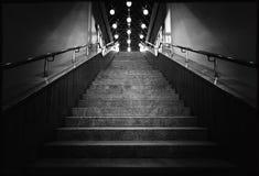 Svartvitt foto av natttrappa med lyktor royaltyfria foton