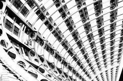 Svartvitt foto, världens största mässhall, byggnad, Guangzhou Pazhou internationell utställningmitt arkivbilder