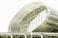 Svartvitt foto, v?rldens st?rsta m?sshall, byggnad, Guangzhou Pazhou internationell utst?llningmitt arkivfoto
