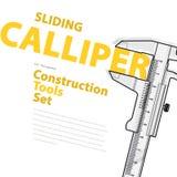 Svartvitt glidningsklämmamått Gul och orange typografiuppsättning av hjälpmedel för trådkonstruktion Arkivbild