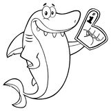 Svartvitt gulligt tecken för hajtecknad filmmaskot som bär ett skumfinger royaltyfri illustrationer