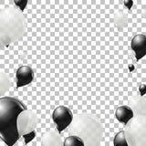 Svartvitt helium sväller på genomskinlig bakgrund Flyglatexballonger Royaltyfri Foto