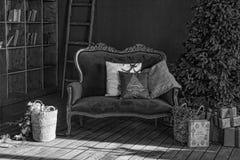 Svartvitt julgran i kunglig inre Nytt års vardagsrum med den antika stilfulla vita soffan med lyxigt guld- fotografering för bildbyråer