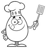 Svartvitt kockEgg Cartoon Mascot tecken som slickar hans kanter och rymmer en spatel vektor illustrationer