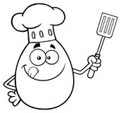 Svartvitt kockEgg Cartoon Mascot tecken som slickar hans kanter och rymmer en spatel royaltyfri illustrationer