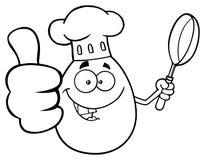 Svartvitt kockEgg Cartoon Mascot tecken som visar upp tummar och rymmer en stekpanna stock illustrationer