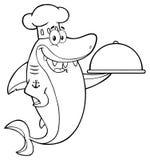 Svartvitt kockShark Cartoon Mascot tecken som rymmer ett uppläggningsfat vektor illustrationer