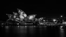 Svartvitt konstnärligt uttryck av livliga Sydney Arkivfoton