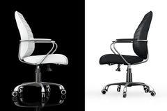 Svartvitt läderframstickande Office Chairs framförande 3d Arkivfoto