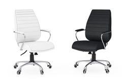 Svartvitt läderframstickande Office Chairs framförande 3d Arkivbilder