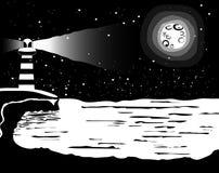 Svartvitt landskap på sjömannen, havet och fullmånen Vecto Royaltyfri Foto