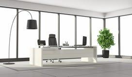 Svartvitt modernt kontor stock illustrationer