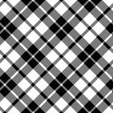 Svartvitt sömlöst för cornisk diagonal tygtextur för tartan Royaltyfria Bilder