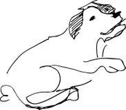 Svartvitt skissa av en älsklings- hund Arkivbild