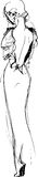 Svartvitt skissa av en flicka i en härlig klänning Arkivbild